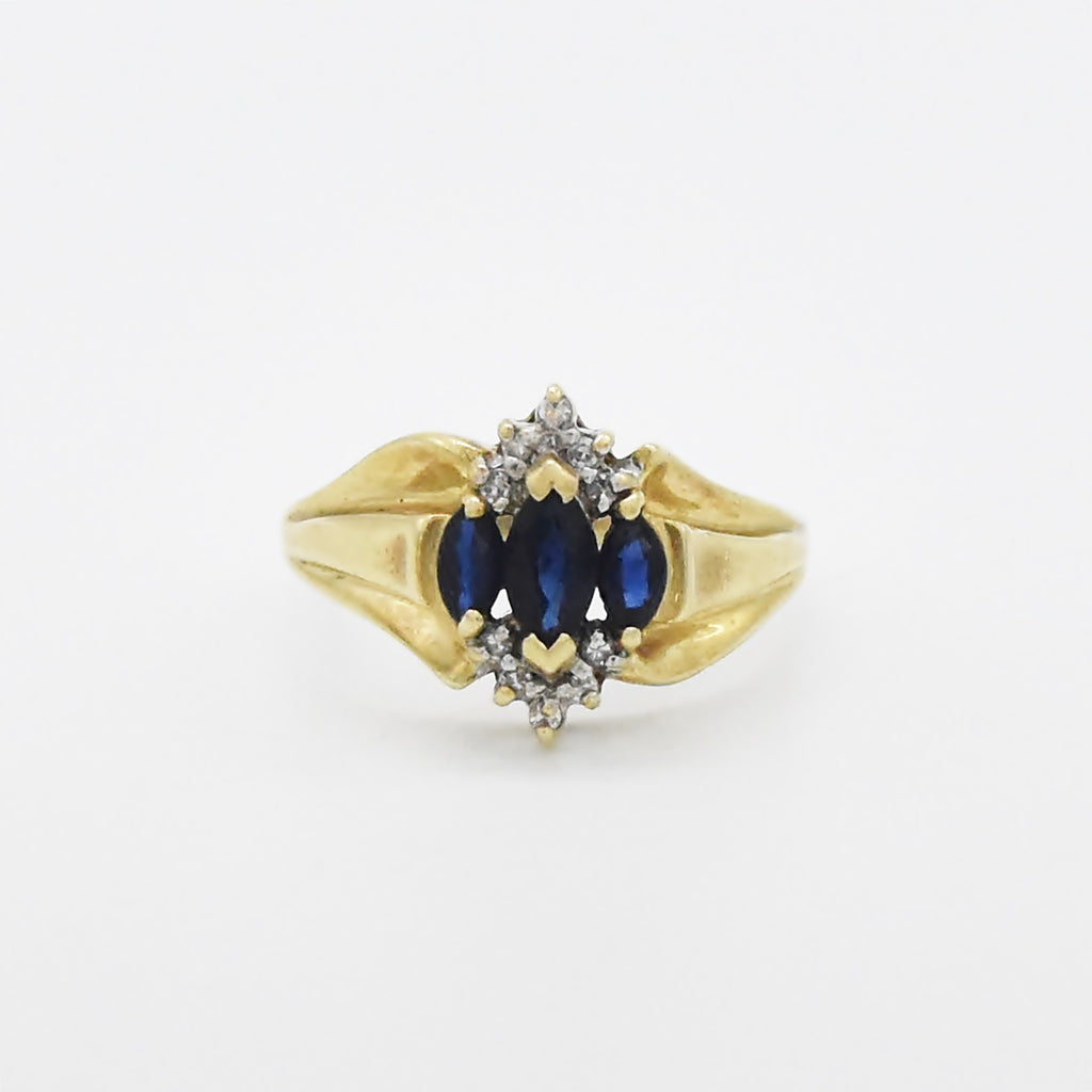 10k Yellow Gold Estate Fancy Sapphire & Diamond Ring Size 8.75