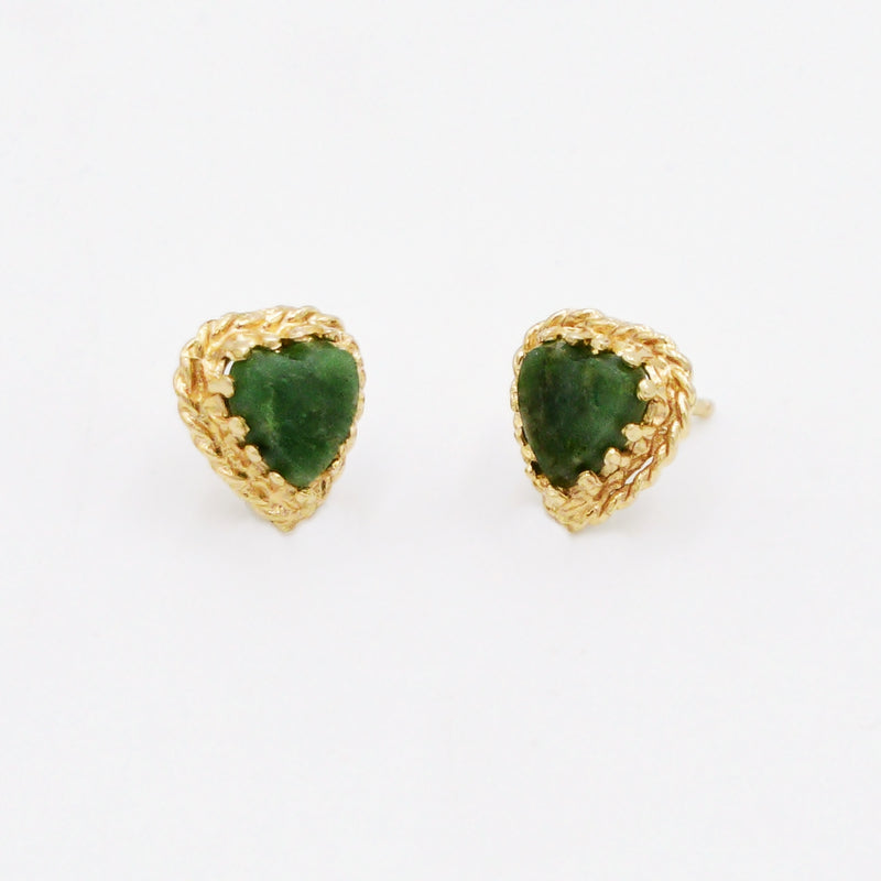 14k Yellow Gold Estate Green Gemstone Heart/Love Post Earrings