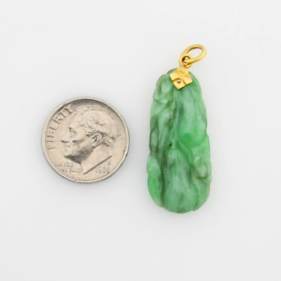 14k Yellow Gold Estate Carved Ornate Drop/Dangle Jade Pendant