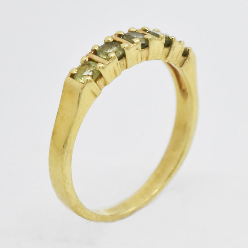 14k Yellow Gold Estate Peridot 5 Stone Band/Ring Size 7.25