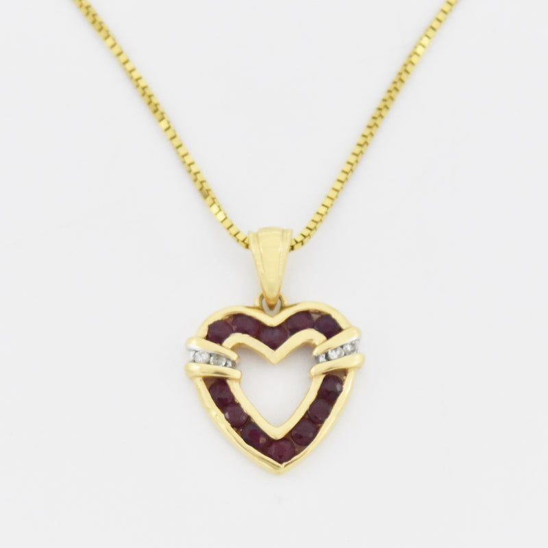 "14k Yellow Gold 18.25"" Box Link Ruby & Diamond Heart Necklace"