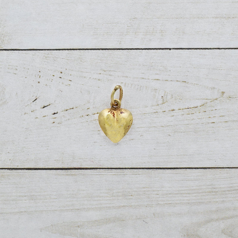 14k Yellow Gold Estate Puffy Heart Charm/Pendant