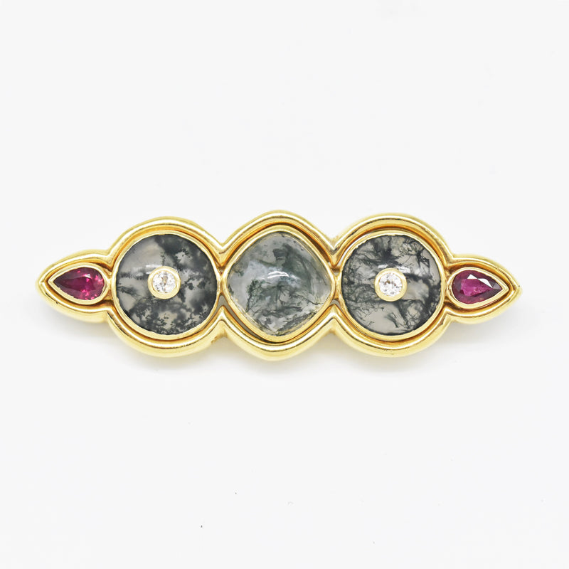 14k Yellow Gold Estate Diamond, Ruby & Gemstone Brooch/Pin
