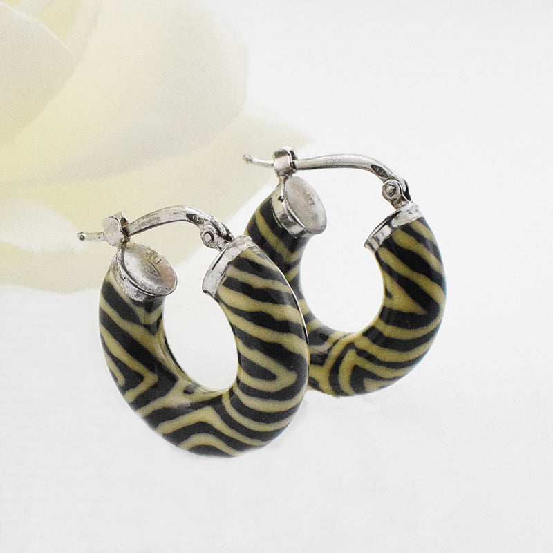 "14k YG 3/4"" Animal Print Hoop Earrings"