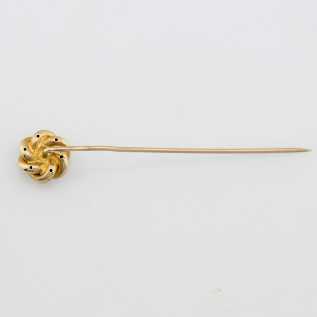 10k Yellow Gold Antique Twisted Spiral Diamond Stick Pin