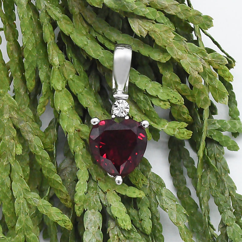 10k White Gold Estate Ruby & Diamond Heart Drop/Dangle Pendant