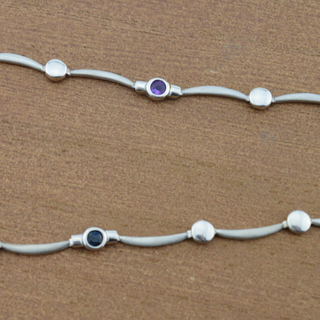 "14k White Gold Multi Colored Gemstone Choker Chain Necklace 16.75"" Long"