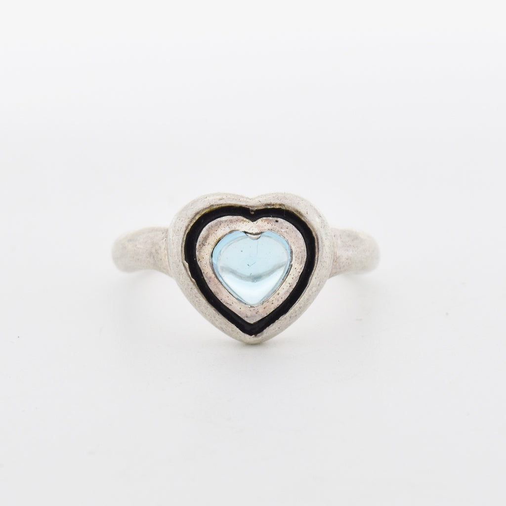 Sterling Silver 925 Estate Cabochon Blue Topaz Heart Shape Ring Size 8