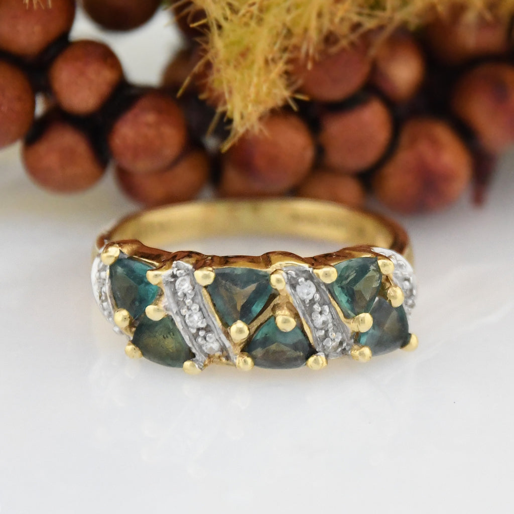 18k YG 1.04 tcw Natural Green Topaz & Diamond Band/Ring Size 7