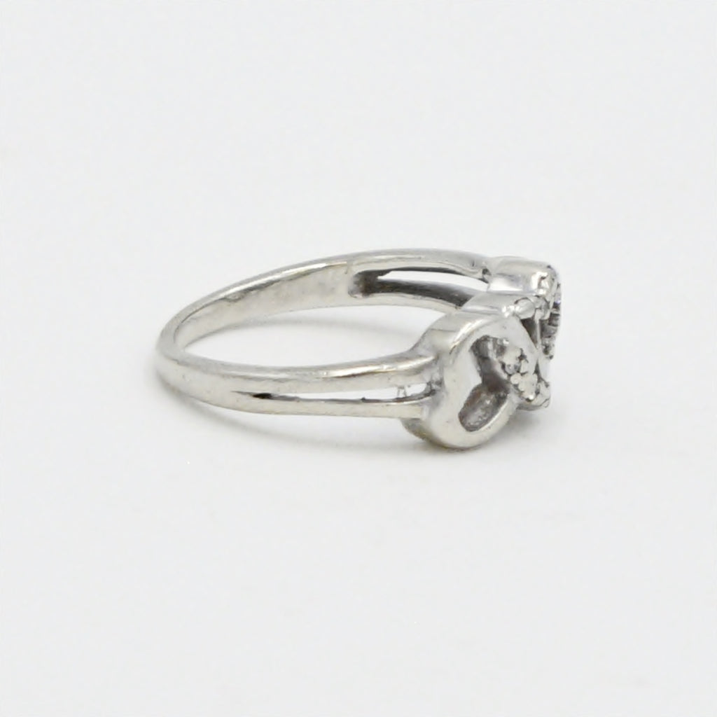 10k White Gold Estate Triple Heart Diamond Ring Size 5.75