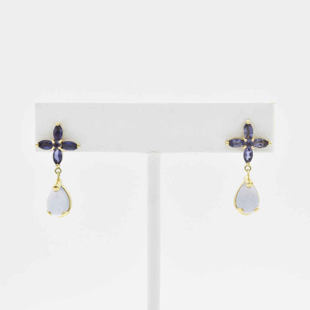 14k Yellow Gold Estate Fancy Blue Iolite Dangle/Drop Post Earrings