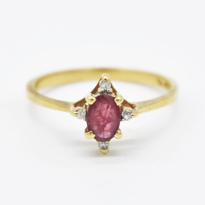 10k Yellow Gold Estate Ruby & Diamond Ring Size 7.75