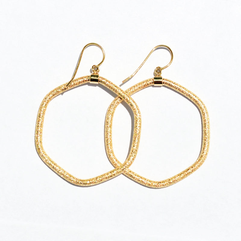 14k Yellow Gold Estate Textured Polygon Shape Dangle/Drop Earrings