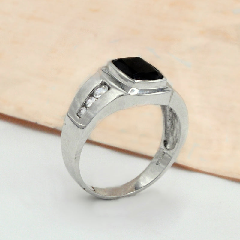 10k White Gold Estate Black Onyx & CZ Gemstone Ring Size 12