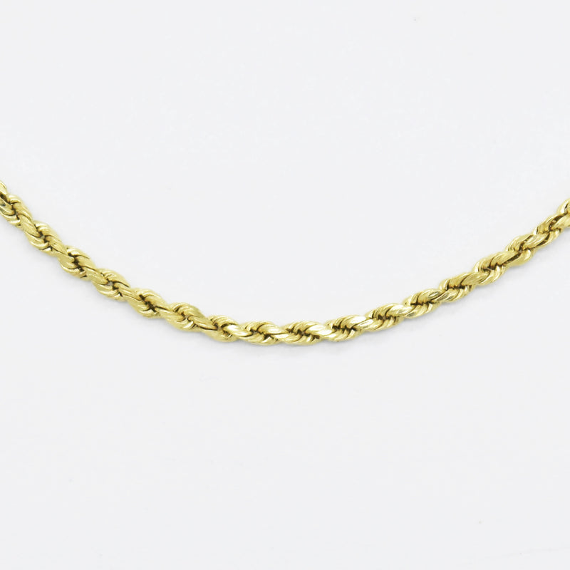 "14k Yellow Gold Estate 15.25"" Rope Link Chain/Necklace"