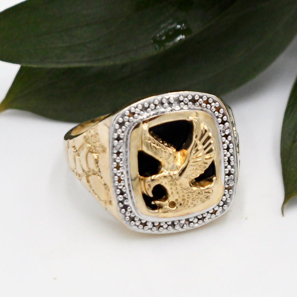 10k Y & W Gold Estate Diamond And Onyx Eagle Animal Ring Size 12.25