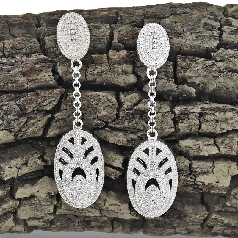Sterling Silver 925 Judith Jack Diamond Dangle/Drop Post Earrings