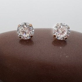 10k Yellow Gold Estate CZ Stud Post Earrings