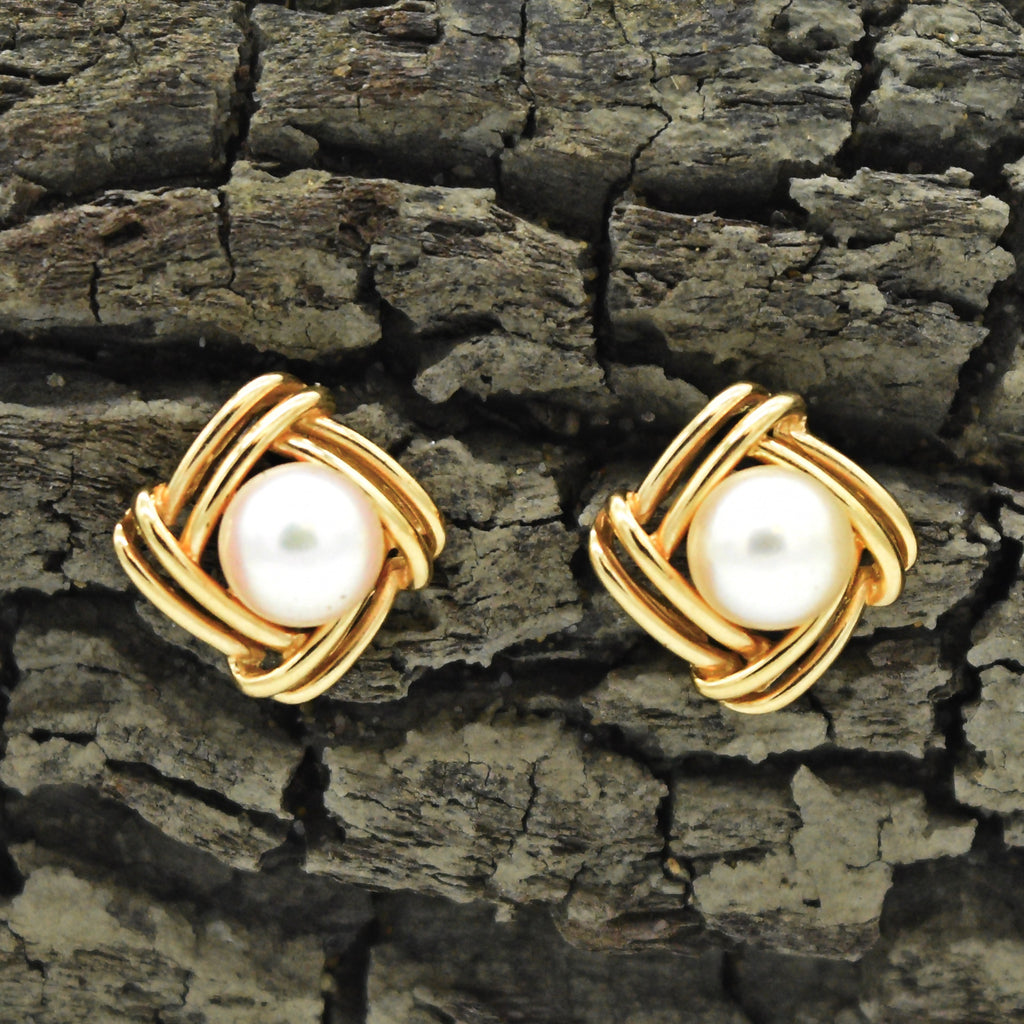14k Yellow Gold Estate Square Swirl Pearl Earrings