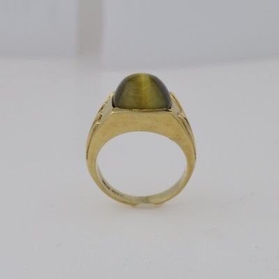 10k Yellow Gold Vintage Cats/Cat's Eye Stone Ring Size 8.75