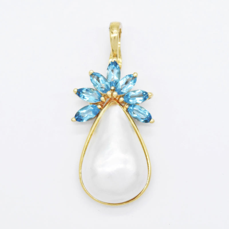 14k Yellow Gold Estate Pearl & Blue Topaz Drop/Dangle Pendant