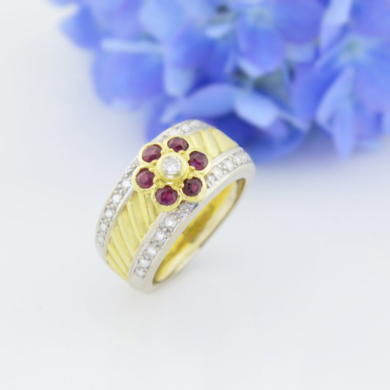 18k Two Toned Custom Diamond & Ruby Multistone Ring Size 7