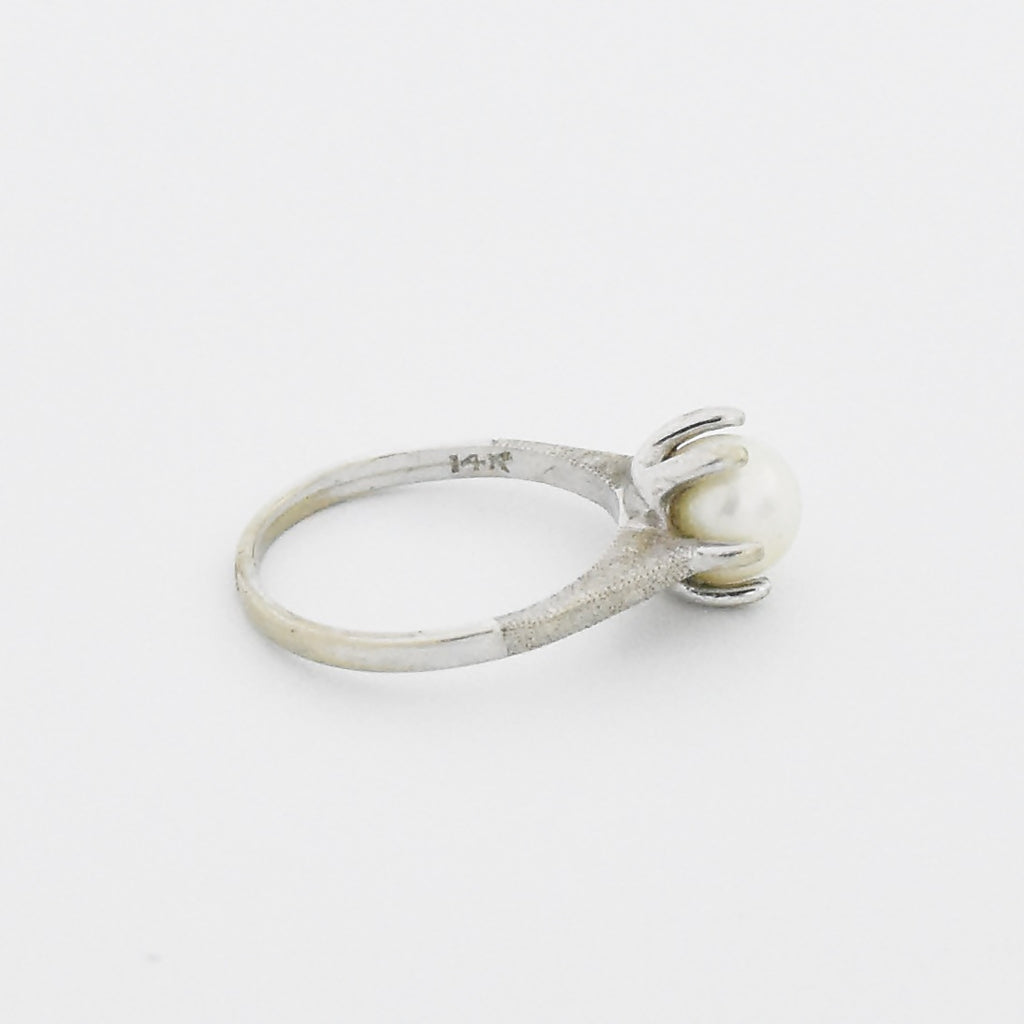 14k White Gold Estate Textured Pearl Ring Size 5.75