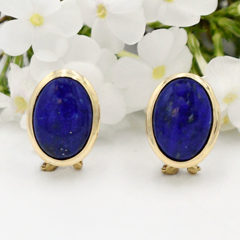 14k Yellow Gold Estate Oval Lapis Gemstone Omega Back Earrings