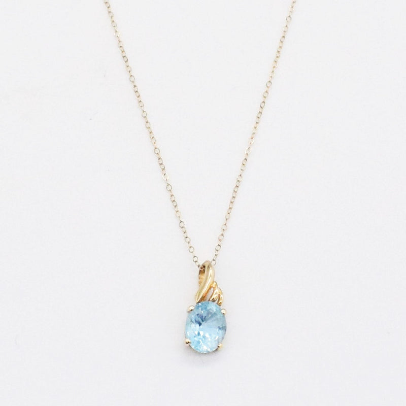 "14k Yellow Gold Estate 16 1/4"" Rolo Link Blue Topaz Necklace"