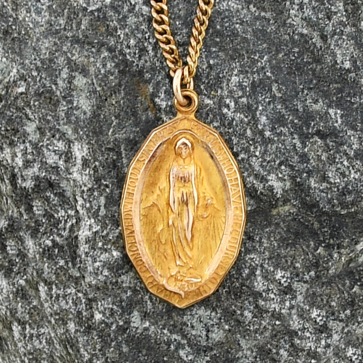 "10k Yellow Gold Vintage Virgin Mary Medallion Necklace/Chain 25"" Long"