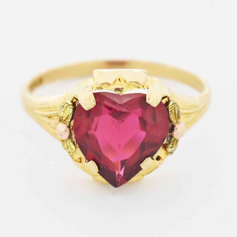 10k Tri Colored Gold Estate Heart Love Red Gemstone Ring Size 7.25