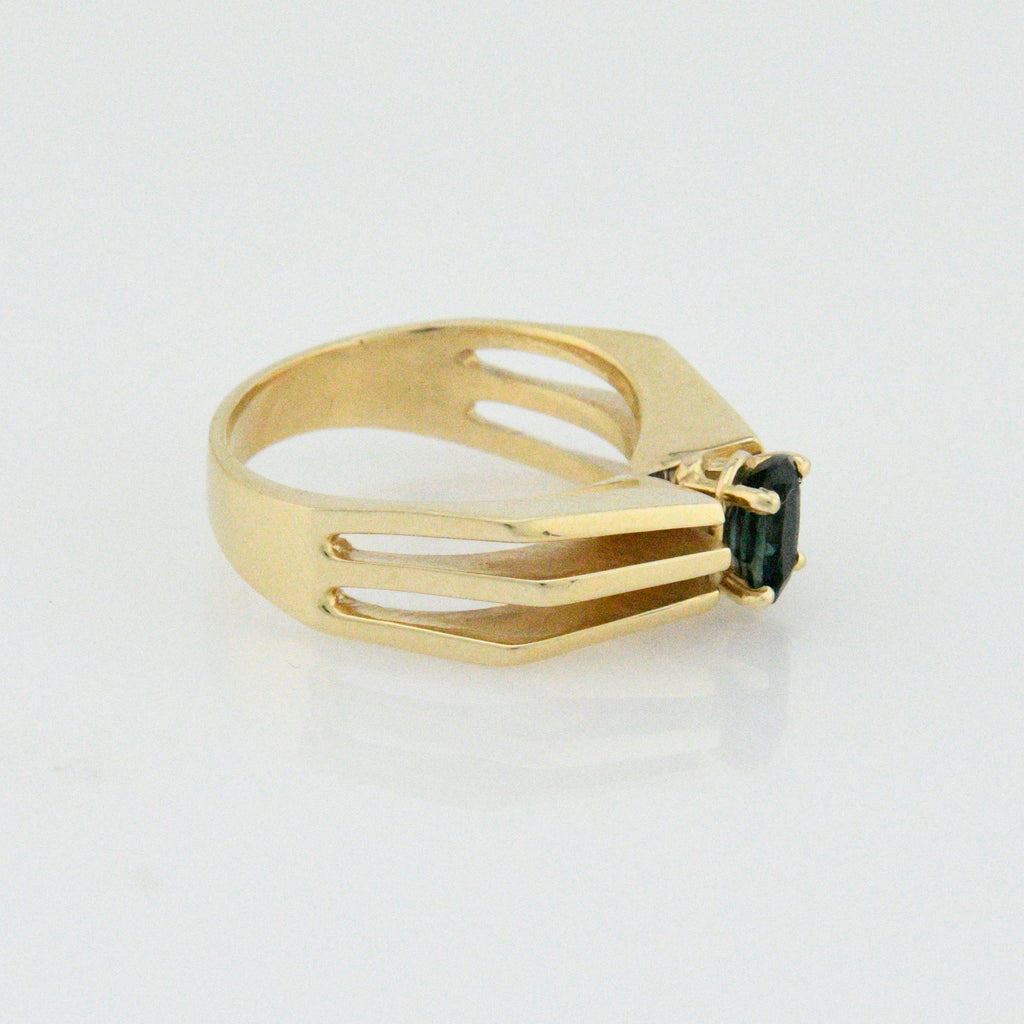 10k Yellow Gold Modern Open Band Sapphire Ring Size 8.25