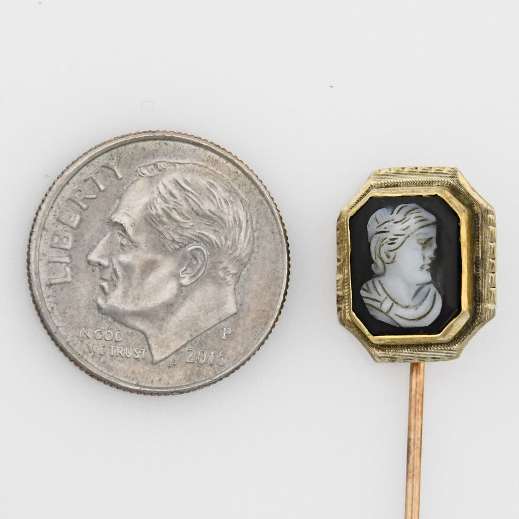 10k Yellow Gold Antique Cameo Stick Pin