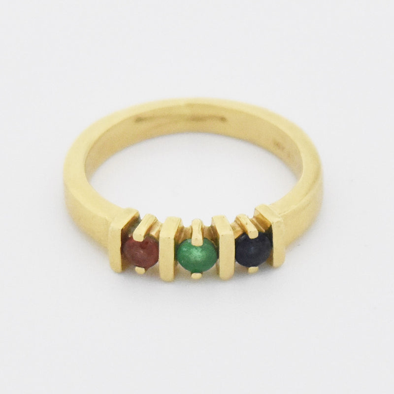 14k Yellow Gold Estate Multi-Colored Gemstone Band/Ring Size 3.75