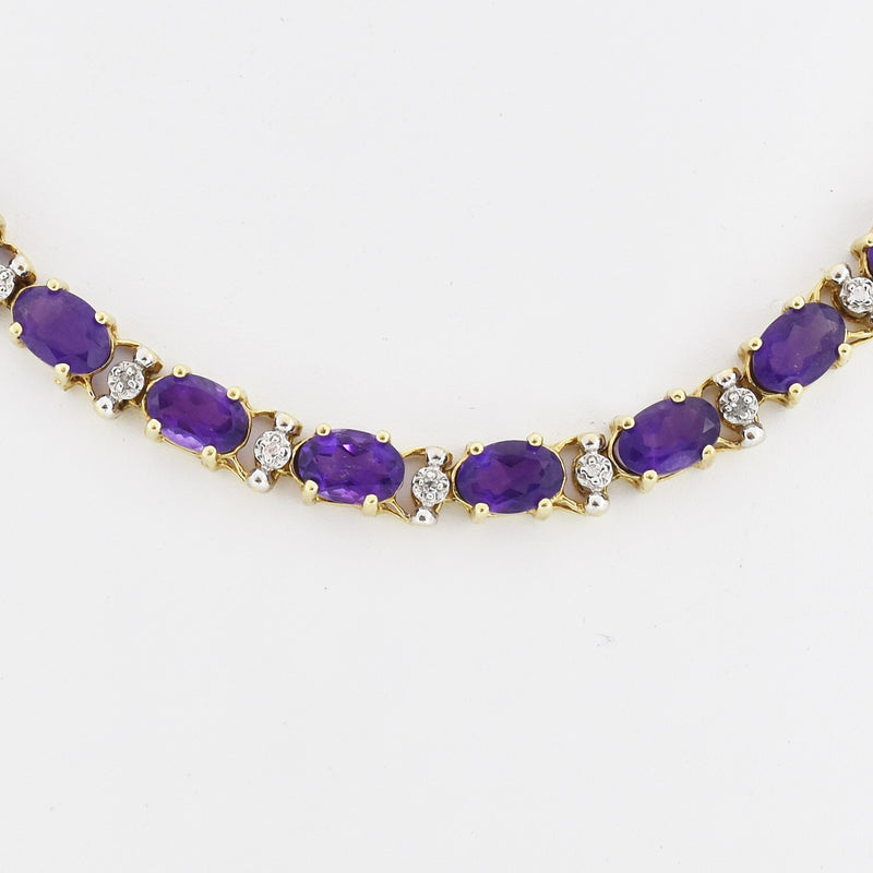 "10k Yellow Gold Estate 7.5"" Oval Amethyst Link Bracelet"