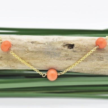 "14k Yellow Gold Estate Coral Gemstone Ball Chain Link Bracelet 7"" Long"