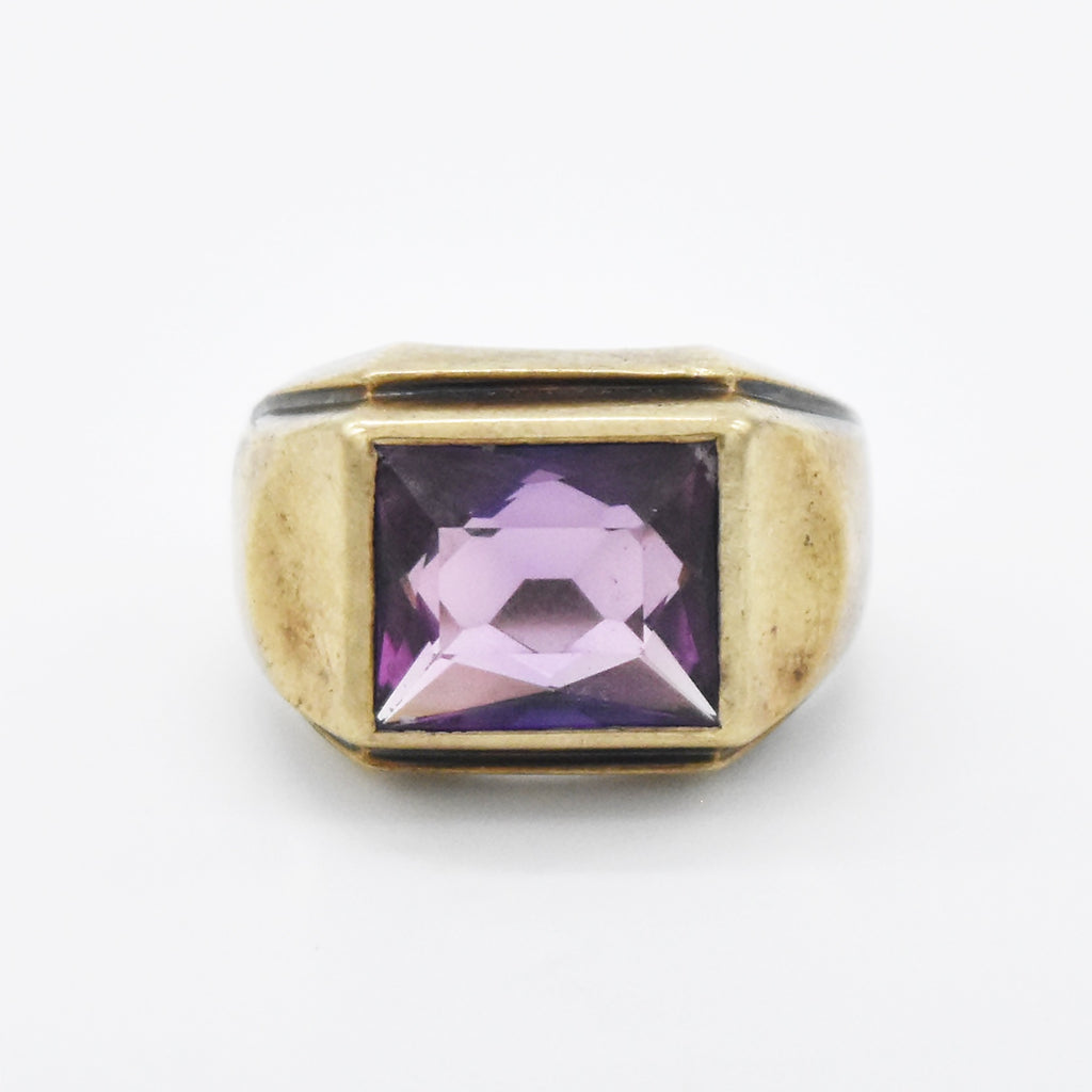 10k Yellow Gold Vintage Color Change Purple Sapphire Ring Size 8.75