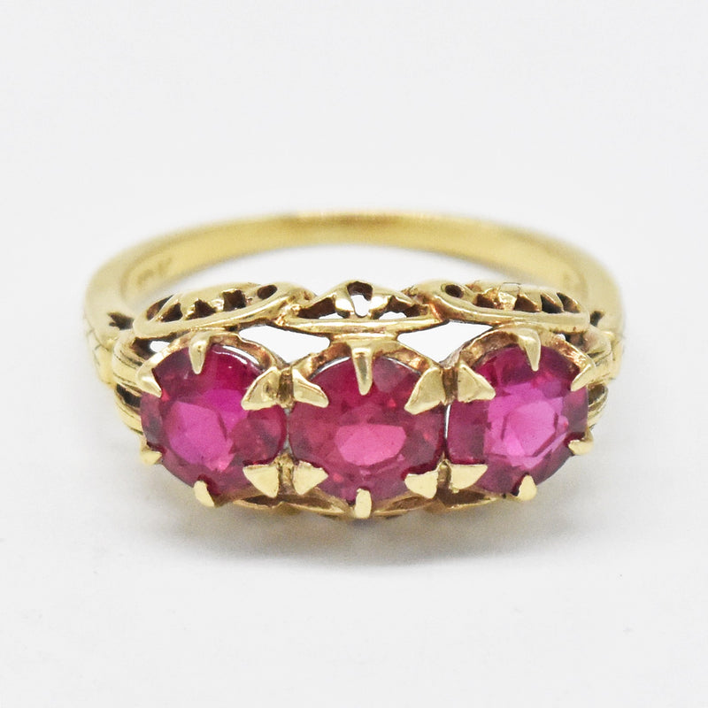 10k Yellow Gold Vintage Ornate 3 Stone Ruby Ring Size 6.75