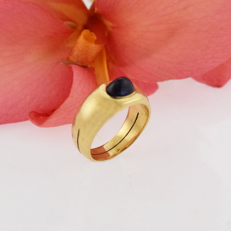 18k Yellow Gold Vintage Double Band Cabochon Sapphire Ring Size 5