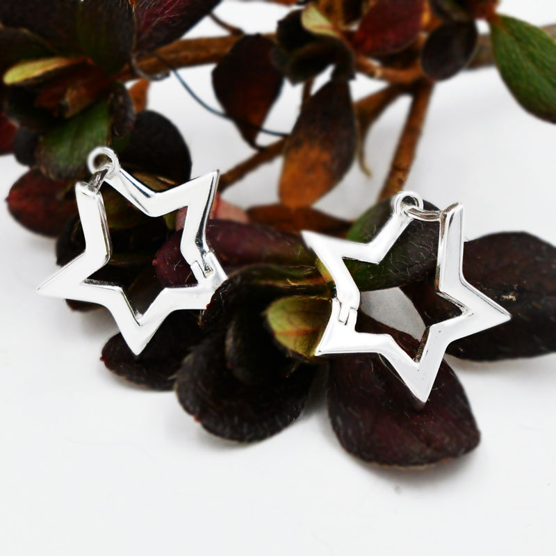 New Sterling Silver 925 Open Work I Am A Star Hoops/Hoop Earrings