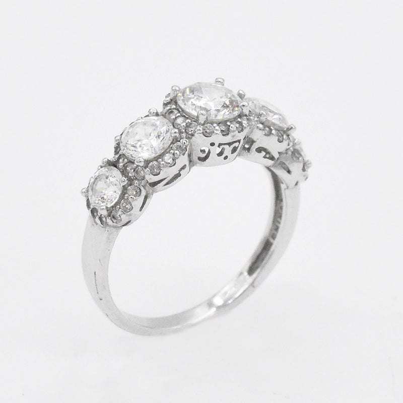 Sterling Silver 925 Estate 5 Stone Diamonique Ring Size 9