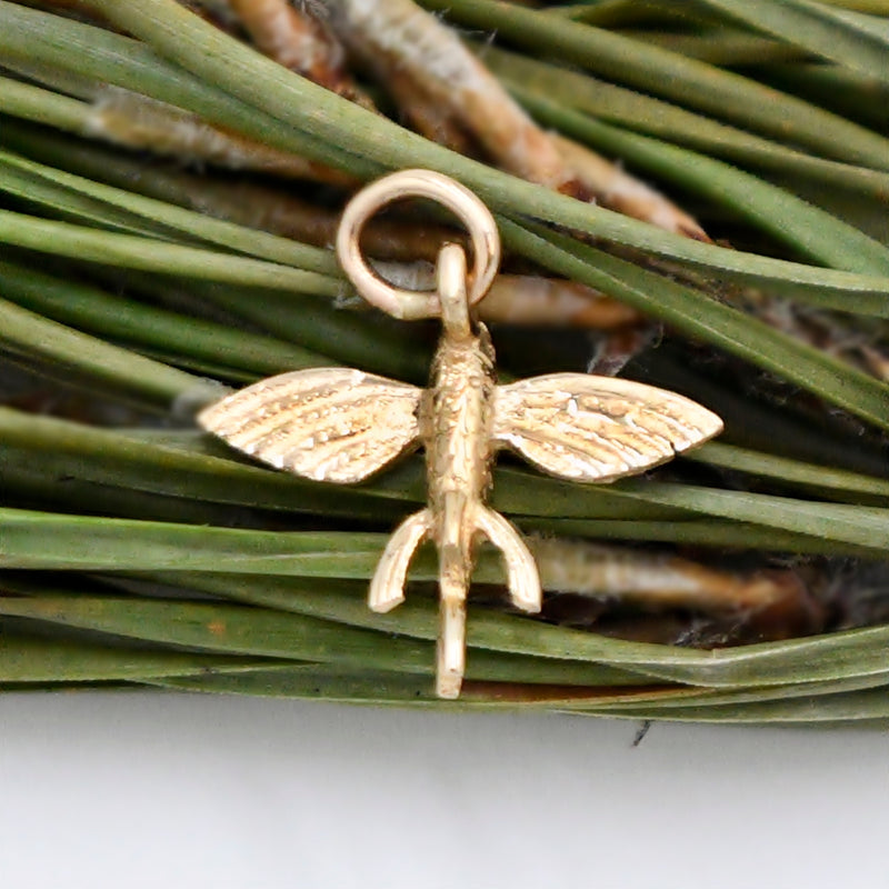 14k Yellow Gold Textured Fly Fish Animal Charm/Pendant