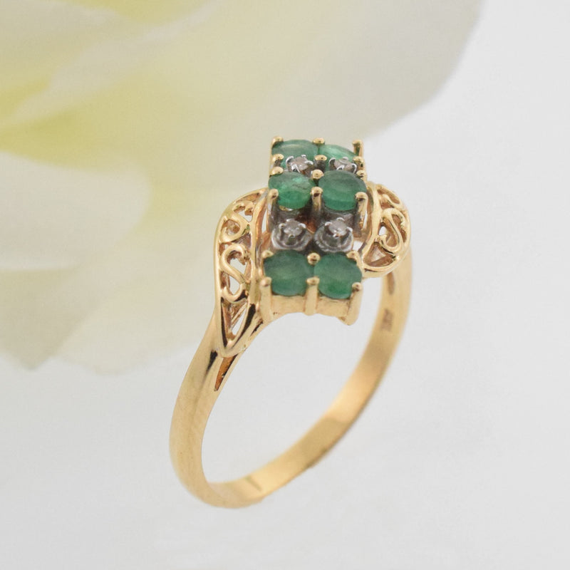 14k YG Open Work Emerald & Diamond 1.5 mm Ring Size 8