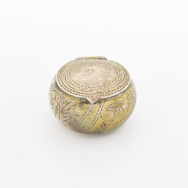 Sterling Silver 925 Antique Carved Round Pill Box