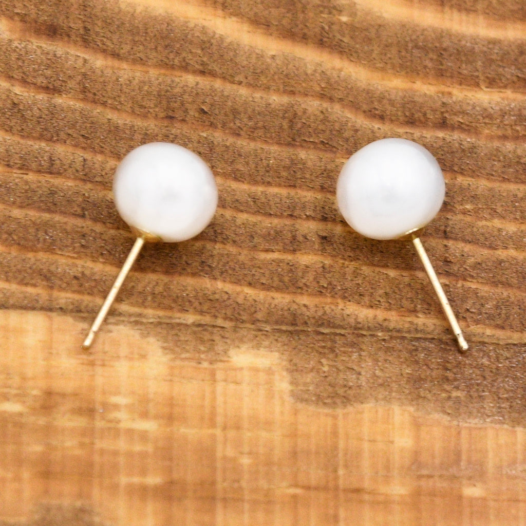 14k Yellow Gold Estate Pearl 7.5 mm Post Earrings