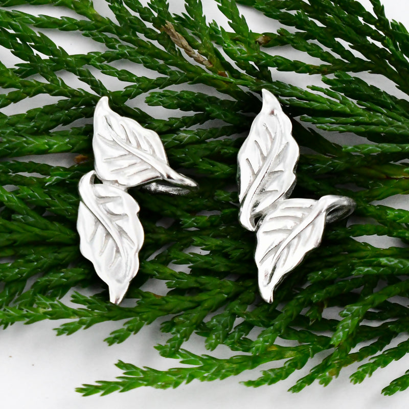 New Sterling Silver 925 Double Leaf Ear Cuff/Cuffs Nature Earrings