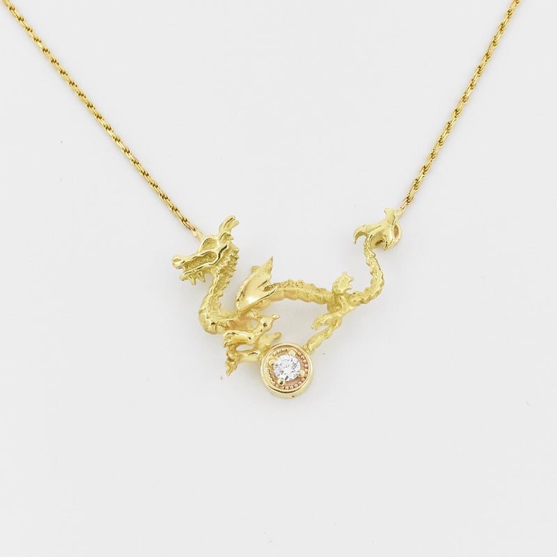 14k Yellow Gold Chain W/ 22k Chinese Dragon Diamond Necklace 17 3/4""