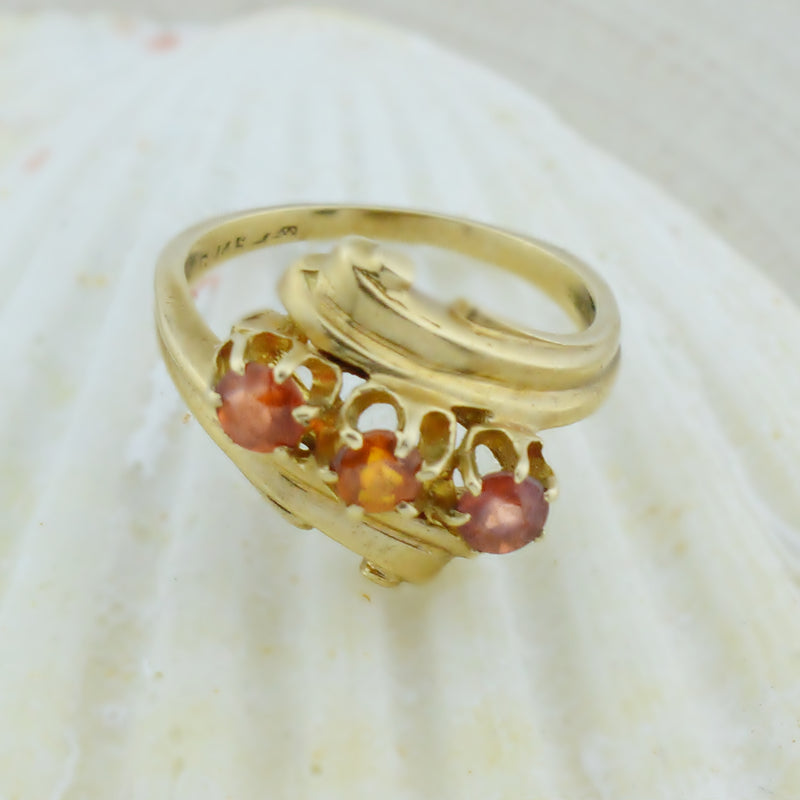 14k Yellow Gold Estate Orange Garnet Multistone Ring Size 6