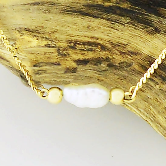 "14k Yellow Gold Estate Serpentine Seed Pearl Necklace/Chain 14 1/4"" Long"
