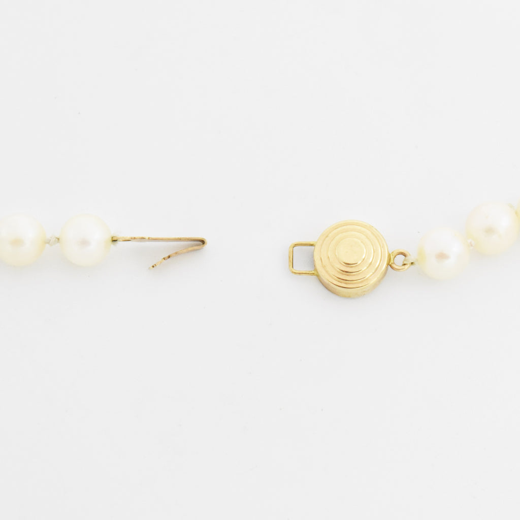 "14k Yellow Gold Estate 18.75"" Single Strand Pearl Necklace"